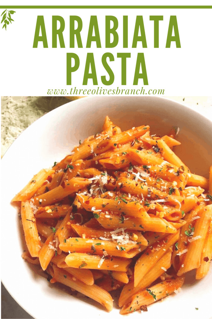 Pin image for Arrabiata Pasta Sauce (Pasta Arrabiata) in a white bowl with title at top