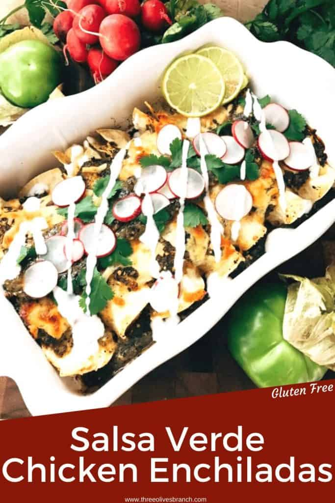 Pin Image for Salsa Verde Green Enchiladas with Chicken in a white dish with title at bottom