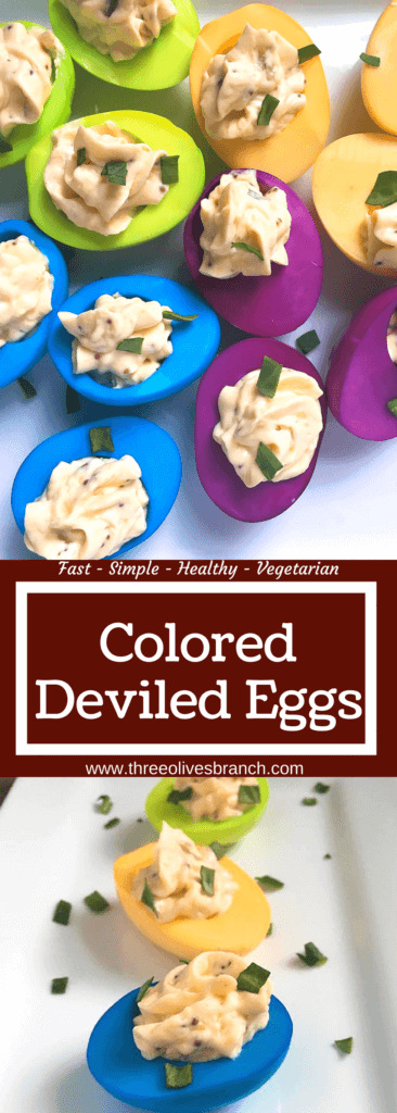 Colored Deviled Eggs are a fast and easy way to add color to a popular appetizer recipe! Dye hard boiled eggs in food coloring and fill with your favorite recipe. Great for Easter, game day, and holiday snacks. #deviledeggs #coloredeggs