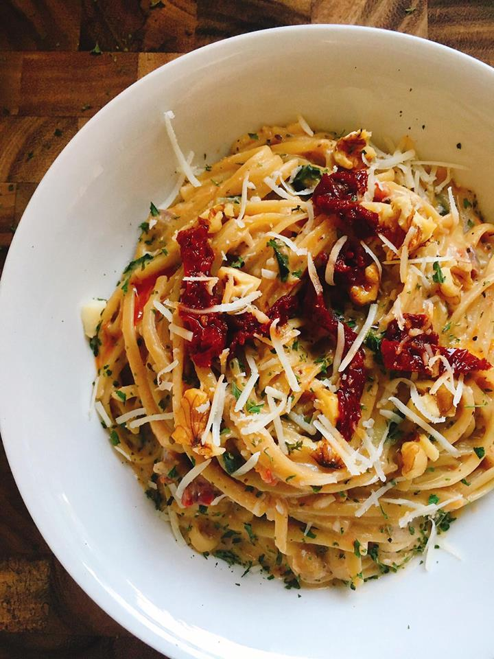 This quick and easy pasta is a great alternative when you want something a little different. A Parmesan cream sauce is the base for letting the walnuts and sun-dried tomatoes shine. Plus it is a great way to use up some of those pantry ingredients! Add some sausage or chicken for the meat lovers. | Three Olives Branch