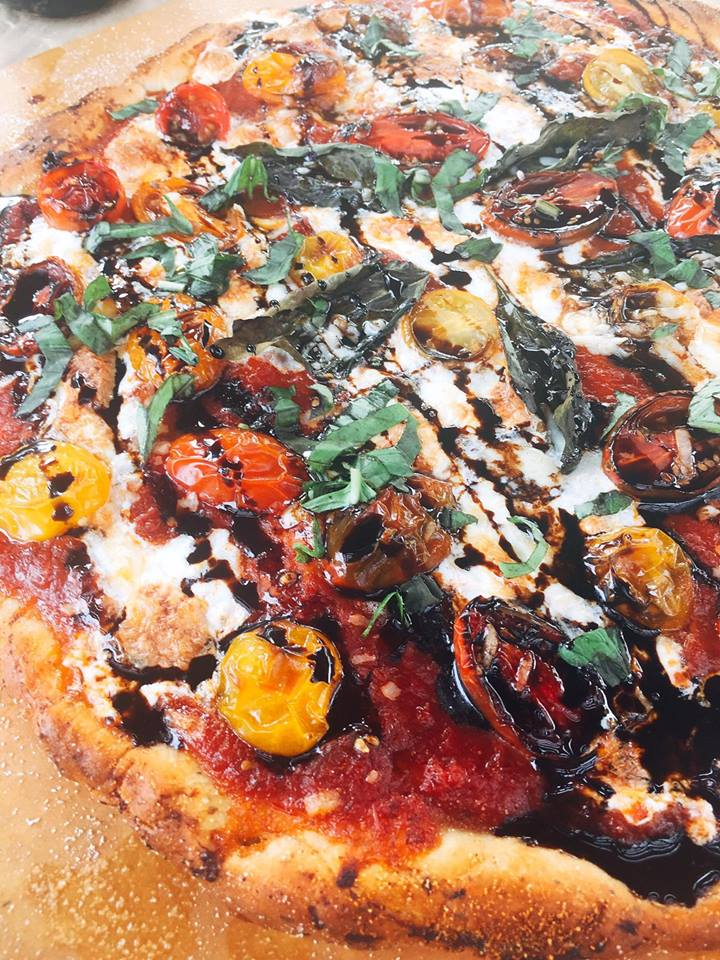 Balsamic Caprese Pizza is packed full of flavor while remaining light and fresh. A great twist on classic flavors. Bake in just 15 minutes! | Three Olives Branch