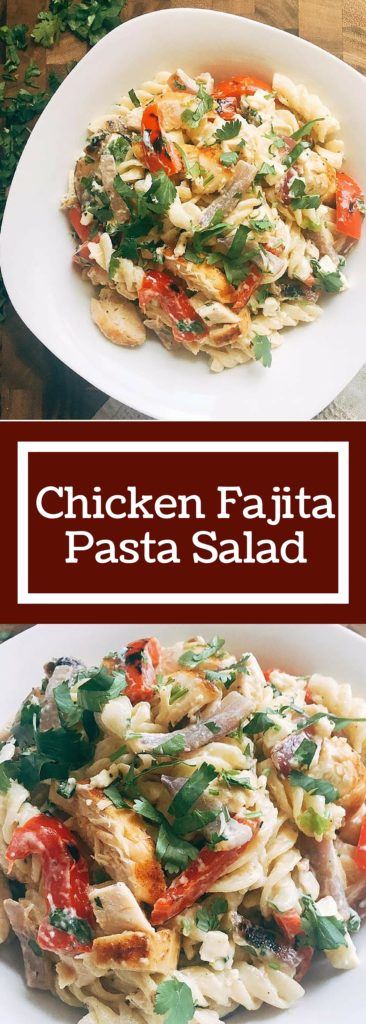Flavors of Citrus Chicken Fajitas are transformed into a pasta salad! Kid friendly and a crowd pleaser, this Chicken Fajita Pasta Salad is the perfect side dish for a cookout!   Three Olives Branch