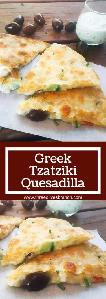 Ready in just 10 minutes! Greek Tzatziki Quesadilla is a great way to sneak some veggies into a fun snack or meal! All the flavors of Greek salad in quesadilla form with some tzatziki sauce inside for extra flavor and dipping. Vegetarian recipe | Three Olives Branch | www.threeolivesbranch.com.