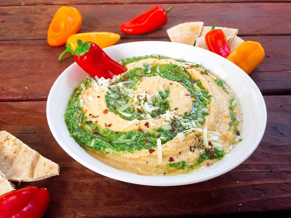 This hummus is a fun twist on the traditional dip. Great as an appetizer, snack, or even a spread! Fast and easy to make. A healthy option that is packed full of protein. Vegetarian. | Three Olives Branch