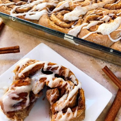 Pumpkin Spice Cinnamon Rolls with Maple Cream Cheese Glaze