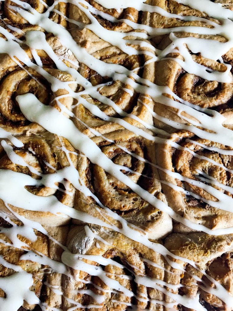 These rolls are a special treat to celebrate fall! Make them the day before for an easy morning. A great way to celebrate Thanksgiving or a special day. Pumpkin Spice Cinnamon Rolls with Maple Cream Cheese Glaze are perfect for breakfast or brunch. Make extra as they will be devoured! Vegetarian | Three Olives Branch | www.threeolivesbranch.com
