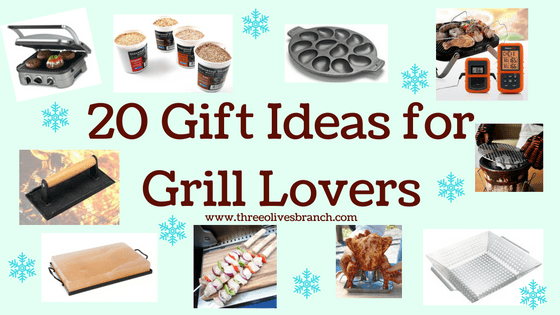 A perfect gift list for the grill lover in your life! Great for Dad, husband, men, and women. Present for Christmas, Hanukkah, birthdays, or any other gift giving holiday! | 20 Gift Ideas for Grill Lovers | Three Olives Branch | www.threeolivesbranch.com