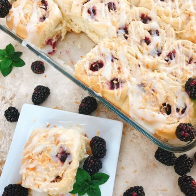 Blackberry Toasted Coconut Sweet Rolls