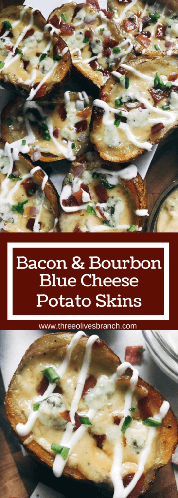 Make in advance for an easy game day appetizer! A twist on a classic snack, perfect for a party or Super Bowl football event. Vegetarian friendly. Bacon and Bourbon Blue Cheese Potato Skins | Three Olives Branch | www.threeolivesbranch.com