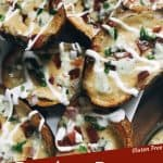 Pin Image A pile of Bacon and Bourbon Blue Cheese Potato Skins with title at bottom