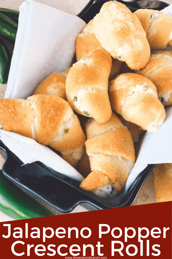 Pin image for Jalapeno Popper Crescent Rolls in a dish with title at bottom