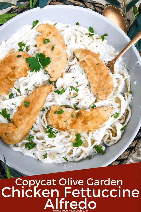 Pin image of bowl of Copycat Olive Garden Chicken Alfredo with title at bottom