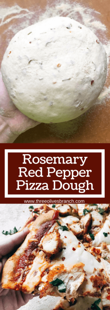 "Homemade pizza dough with a little kick! Amp up plain dough with the flavors of rosemary and red pepper, classic Italian ingredients. Delicious with a variety of toppings. Makes two 12"" pizzas and perfect for a party pizza night. Vegetarian. Rosemary Red Pepper Pizza Dough 