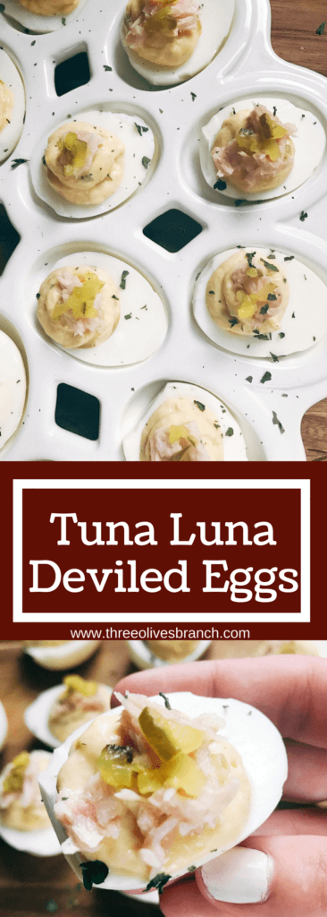 Ready in 10 minutes, fast and simple deviled eggs with unique flavors similar to tuna salad. Tuna, relish, mayo, and mustard brighten up these eggs for a unique appetizer or snack. Great for any party, event, game, or holiday like Easter. Tuna Luna Deviled Eggs | Three Olives Branch | www.threeolivesbranch.com