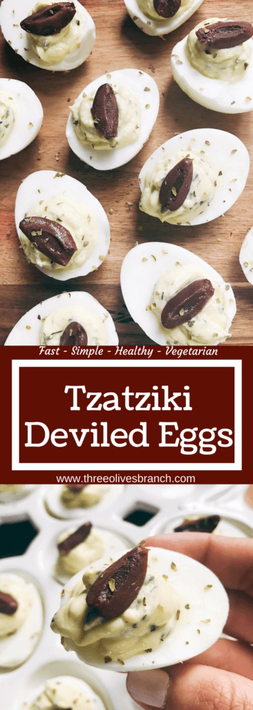 Ready in 10 minutes, these eggs are a perfect appetizer or snack for holidays like Easter and gatherings. Serve up a classic dish with a twist at your party, game day, or event. Quick and simple to make. Vegetarian. Cucumber, dill, garlic, and lemon shine in these deviled eggs to bring the same flavors of a Greek yogurt tzatziki sauce to these snacks. Tzatziki Deviled Eggs | Three Olives Branch | www.threeolivesbranch.com