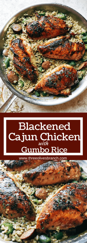 Flavors of gumbo in a chicken and rice one-pot meal. Blackened chicken is paired with smoked sausage, okra, and cajun seasoning in brown rice for a dish that takes you to New Orleans. Blackened Cajun Chicken with Gumbo Rice | Three Olives Branch | www.threeolivesbranch.com