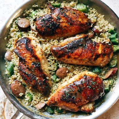 Blackened Cajun Chicken with Gumbo Rice