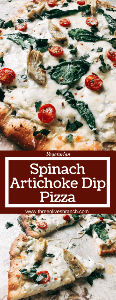 Perfect for dinner parties and fun meals, this pizza is based on the classic spinach artichoke dip! Spinach, artichoke hearts, Parmesan, cream cheese, garlic, and more form a dip as the sauce of this pizza with additional veggies like tomatoes or your favorite meats as the toppings. Try it out with our Parmesan Black Pepper or Rosemary Garlic Pizza Doughs. Make the dough in advance for a faster meal! Freezes well, kid friendly, vegetarian, and delicious! Spinach Artichoke Dip Pizza | Three Olives Branch | www.threeolivesbranch.com