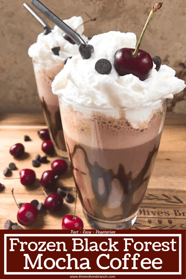 A perfect coffee drink for the summer and warm weather! Ready in just minutes, this frozen coffee can also be made as an iced coffee. Classic Black Forest dessert flavors of cream, cherries, and chocolate are paired with coffee for a fun treat. Simple and easy to make, vegetarian. Frozen Black Forest Mocha Coffee #frozencoffee #summerdrink #frozenmocha