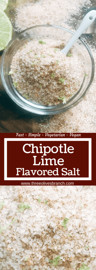 A quick and simple salt to make in just minutes. Perfect for grilling and the BBQ in the summer or as a gift for Father's Day. Works great on steak, beef, chicken, pork, and vegetables. Use it as something special for events and parties like the 4th of July. Easy to make in a food processor, vegan, vegetarian. Chipotle Lime Flavored Salt | Three Olives Branch | www.threeolivesbranch.com