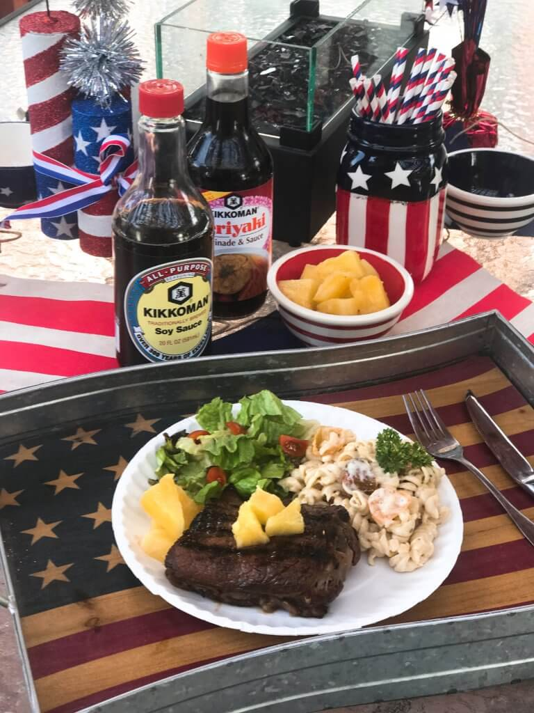 A quick and simple marinade that takes just a few minutes to put together. Perfect to leave overnight. The pineapple juice acid tenderizes the meat in a flavorful steak marinade. Great for any summer grilling, cook out, or BBQ event like 4th of July. Soy sauce, pineapple juice, ginger, and lime. Fast and easy dinner idea. Pineapple Soy Steaks | Three Olives Branch | www.threeolivesbranch.com