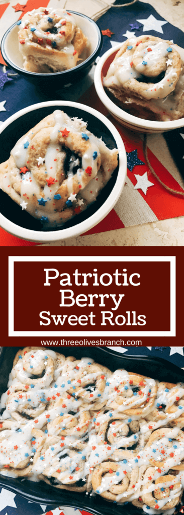 Red, white, and blue sweet rolls for a patriotic morning! A twist on cinnamon rolls, these are filled with cream cheese and mixed berries for a summer treat. Great for patriotic parties and BBQs like Labor Day, Memorial Day, and 4th of July. Make them in advance for a quick and easy breakfast or brunch to start the holiday. They even work as a dessert! Vegetarian and kid friendly. Patriotic Berry Sweet Rolls | Three Olives Branch | www.threeolivesbranch.om