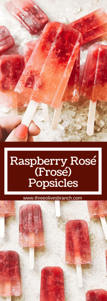 Popsicles made of rosé wine and raspberries! Simple to make and a great alcoholic adult treat for the warm and hot summer days. A twist on the frosé (frozé) trend, putting your favorite pink rose wine in popsicle form. A perfect treat or poptail for a cookout, barbecue, or grilling day. BBQ parties never tasted so good! Cocktail on a stick. Raspberry Rosé (Frosé) Popsicles | Three Olives Branch | www.threeolivesbranch.com