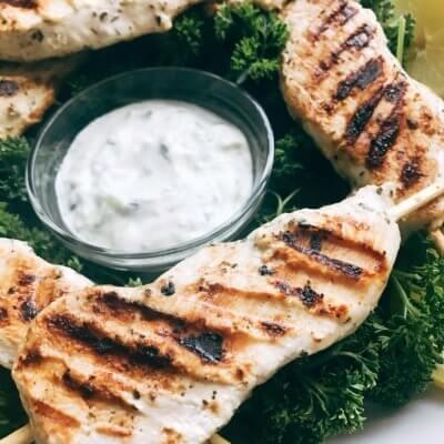 Oregano Lemon Yogurt Greek Chicken Skewers