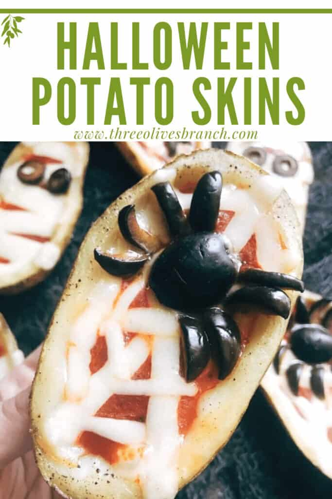 Pin image of a spider Halloween Pizza Potato Skins with title at top