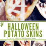 Long pin image of Halloween Pizza Potato Skins with title