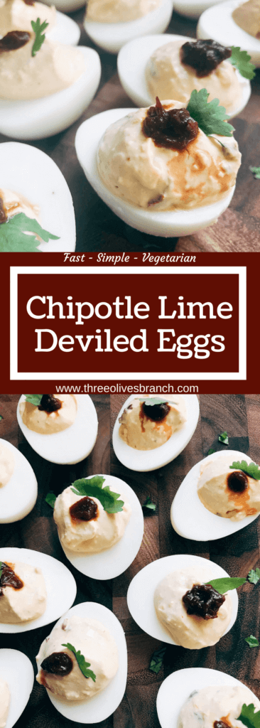 Ready in less than 10 minutes, this deviled egg recipe is a fun twist on a classic appetizer. Chipotle peppers in adobo and lime juice give Mexican food flare to the deviled egg. Simple, fast, and easy to make. Vegetarian and gluten free. A great party snack for game day or holiday events and party gatherings. Chipotle Lime Deviled Eggs | Three Olives Branch | www.threeolivesbranch.com