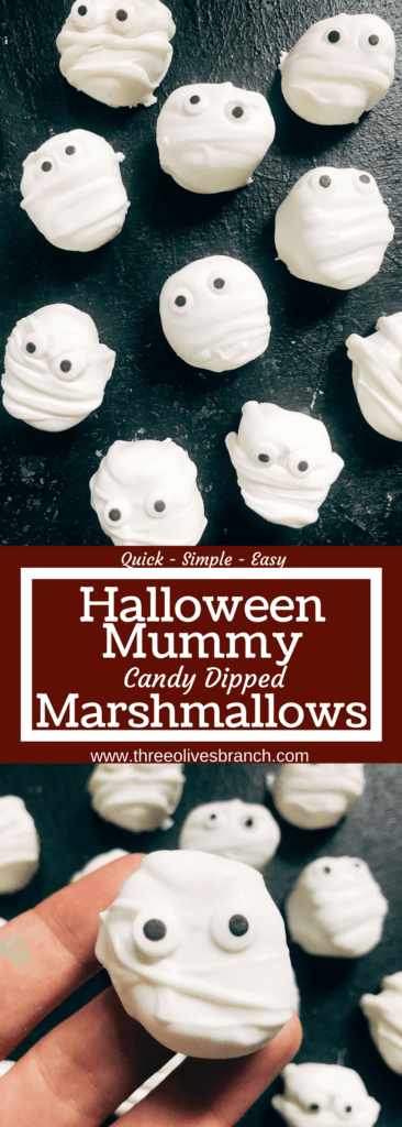 15 minutes to make these quick and simple mummy marshmallows! Large marshmallows are cut in half, covered in white candy melt with mummy wraps, and small candy eyes. Perfect for Halloween parties and a favorite among kids. Halloween Mummy Candy Dipped Marshmallows | Three Olives Branch | www.threeolivesbranch.com #halloween #mummy #mummies #halloweencandy #marshmallow #recipes #recipe #halloween recipe