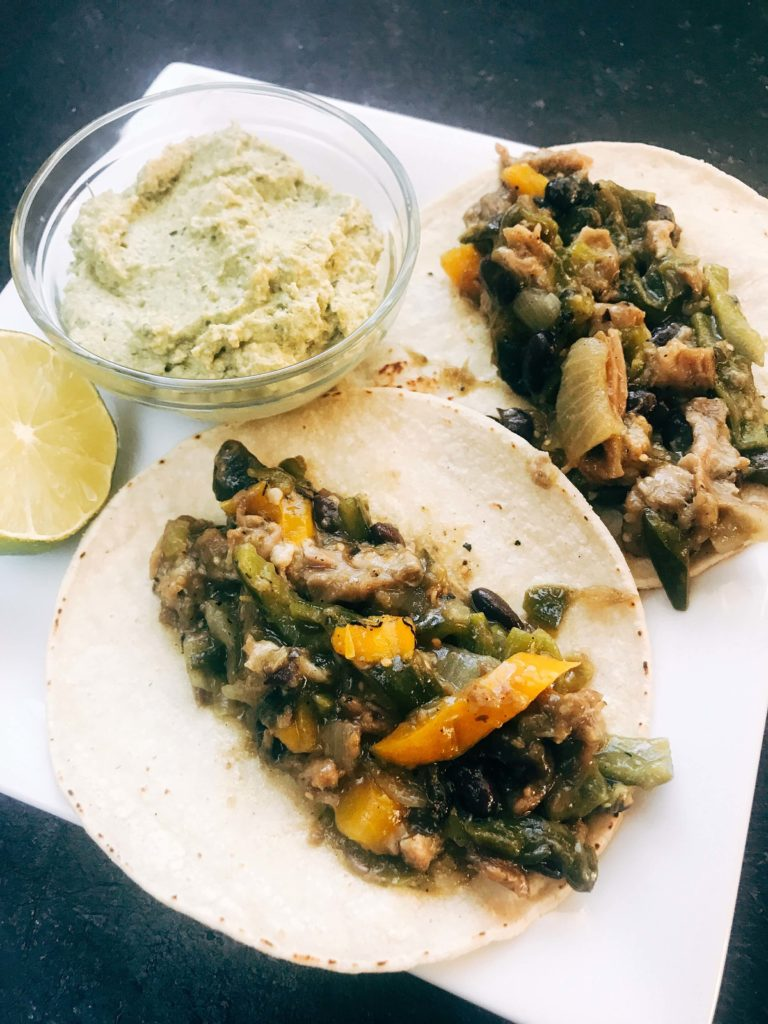 Quick and simple crema recipe for Mexican foods. Roasted poblano peppers are blended with lime juice and sour cream for a fast and easy sauce. Vegetarian and gluten free recipe. Roasted Poblano Lime Crema   Three Olives Branch   www.threeolivesbranch.com