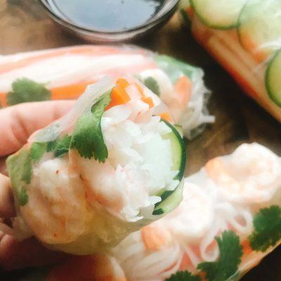Vietnamese Shrimp Banh Mi Spring Rolls
