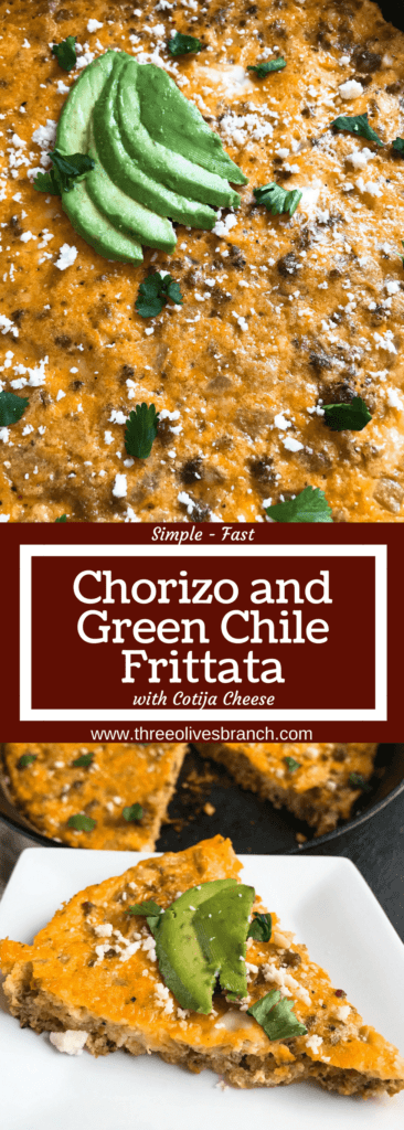 A quick and simple brunch or breakfast recipe, this low carb keto and gluten free frittata is ready in just 20 minutes! Spicy chorizo sausage, diced green chiles, and cotija cheese are combined with eggs for a simple breakfast. Chorizo and Green Chile Frittata #frittata #mexicanrecipe #breakfast