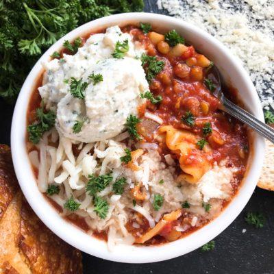 Slow Cooker Vegetarian Lentil Lasagna Soup