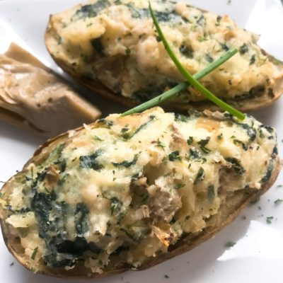 Spinach Artichoke Stuffed Potatoes