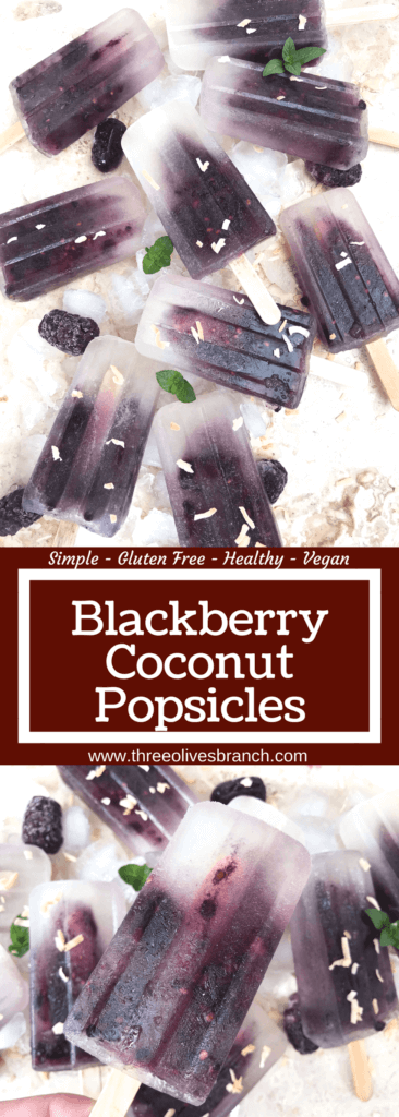 Quick and simple healthy popsicle recipe. Coconut water, blackberries and a little sugar (optional) for a fun and sweet kid friendly summer treat. Vegan, vegetarian, gluten free (GF) and can be paleo and Whole30 without the sugar. Blackberry Coconut Popsicles | Three Olives Branch | www.threeolivesbranch.com #popsicle