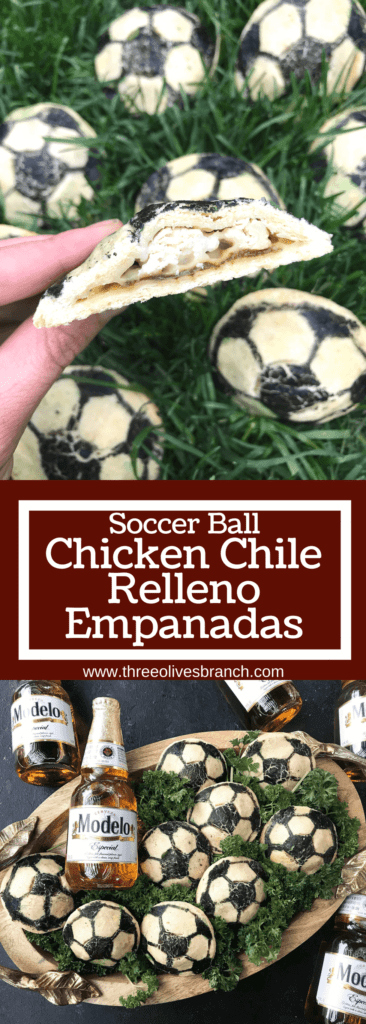 Soccer ball empanadas recipe perfect for the World Cup! Roasted poblano peppers, cheese, and Modelo marinated chicken are stuffed inside these Mexican empanadas. Msg 4 21+ Soccer Ball Chicken Chile Relleno Empanadas | Three Olives Branch | www.threeolivesbranch.com #CelebratorySips #ModeloSummer #ad #SoFabFood