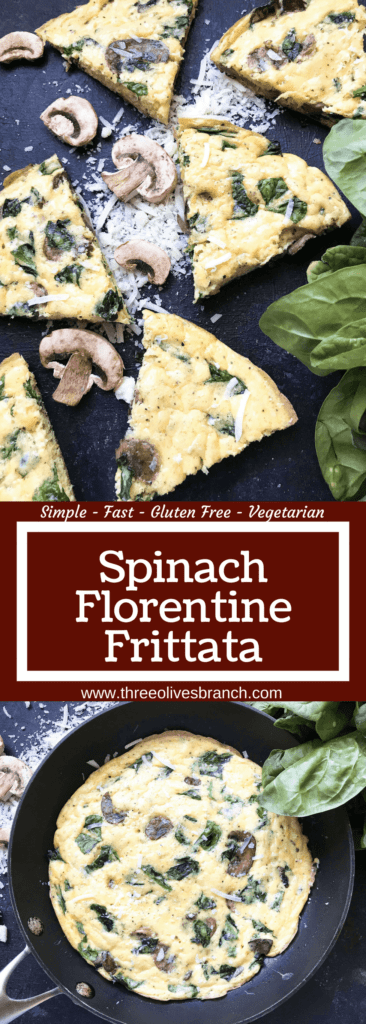 Ready in 20 minutes, a fast and simple breakfast or brunch recipe. Mushrooms, spinach, and cheese mixed in egg. Gluten free (gf). Vegetarian Spinach Florentine Frittata | Three Olives Branch | www.threeolivesbranch.com