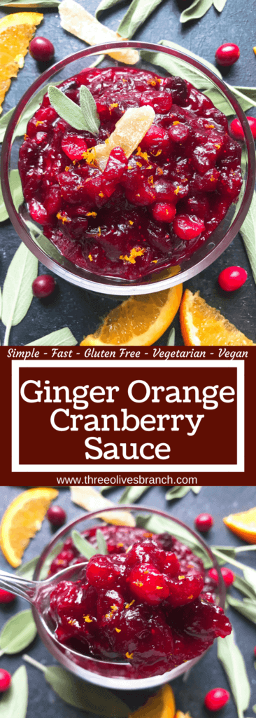 A quick and simple cranberry sauce recipe ready in 10 minutes. Flavored with ginger and orange, this sauce is vegetarian, vegan, and gluten free (GF). Perfect for Thanksgiving, Christmas, Easter, and holiday side dish. Make ahead! Ginger Orange Cranberry Sauce | Three Olives Branch | www.threeolivesbranch.com #thanksgiving #cranberrysauce #christmas