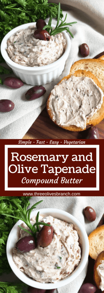 Less than 5 minutes to make a flavored butter recipe. Gluten free (gf) and vegetarian, serve this butter with bread, on chicken, steak, or vegetables for a low carb keto option, or in pasta. Fast and simple, perfect for holiday entertaining and appetizers. Rosemary and Olive Tapenade Compound Butter #compoundbutter #holidayappetizer