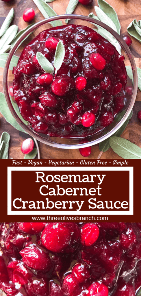 Ready in just 15 minutes, a quick and easy cranberry sauce recipe. Simple to make in advance. Rosemary Cabernet Wine Cranberry Sauce is vegetarian, vegan, gluten free, dairy free, and allergy free. #cranberrysauce #thanksgivingrecipes #holidayrecipes #christmasrecipes