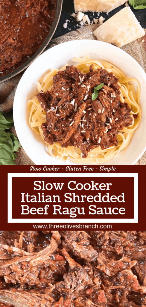 Slow Cooker Italian Shredded Beef Ragu Sauce recipe takes just 5 minutes to put together for a quick and simple comfort food dinner! Serve over pasta for an easy meal. Gluten free (gf), great for cold weather. #slowcooker #crockpot #italianrecipe