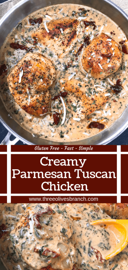 Ready in 30 minutes, this quick and simple skillet chicken recipe is perfect for busy nights. Sundried tomatoes, spinach, and chicken in a creamy Parmesan cheese sauce. Gluten free. Creamy Parmesan Tuscan Chicken #chickenrecipes #quickrecipes #easyrecipes #glutenfreerecipes