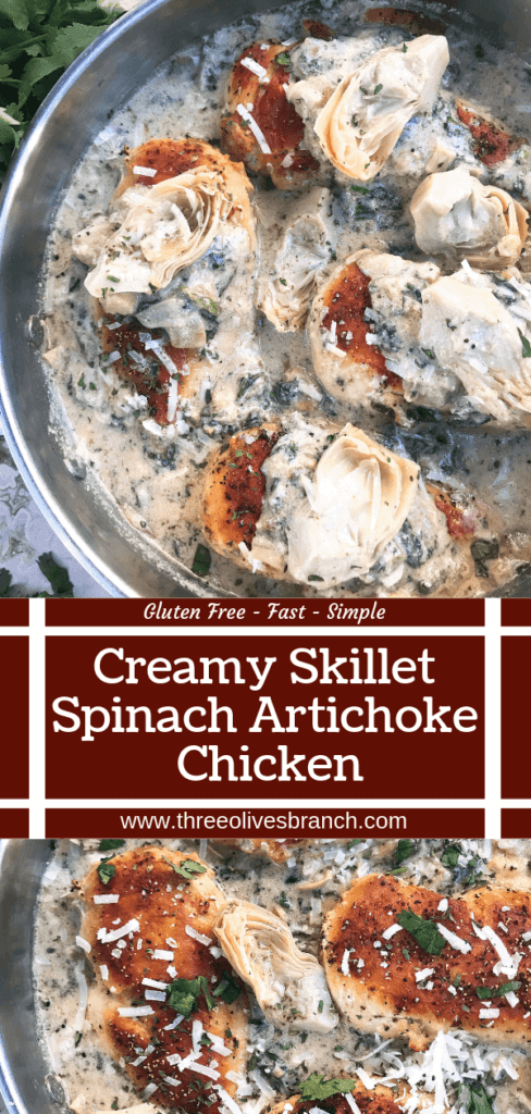One pot Creamy Skillet Spinach Artichoke Chicken ready in 30 minutes for a fast and easy dinner recipe. Chicken is browned and served in a creamy Parmesan cheese sauce with spinach and artichoke hearts. Gluten free. #chickenrecipes #glutenfreerecipes #chickendinner