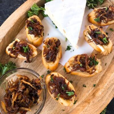 Caramelized Onion and Brie Crostini