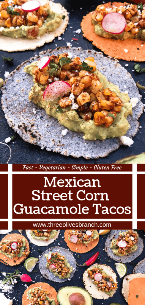 Ready in 15 minutes, these Mexican Street Corn Guacamole Tacos are a fast and simple dinner recipe. Fresh guacamole and corn salsa are layered for a healthy Mexican recipe and quick dinner. Vegetarian and gluten free. Vegan friendly. #healthyrecipes #healthyvegetarian #tacorecipes #vegetarianrecipes #glutenfreerecipes