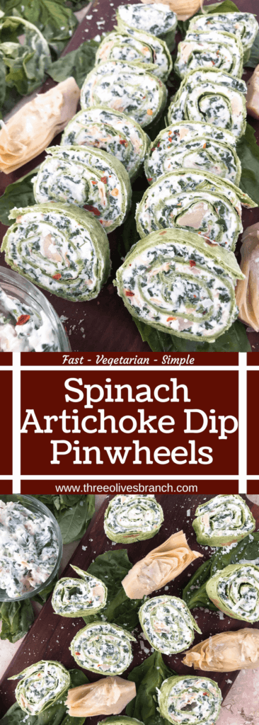 Ready in 20 minutes, these Spinach Artichoke Dip Pinwheels are a quick and easy party appetizer recipe. Spinach, artichoke, cream cheese, and Parmesan and spread onto flour tortillas, rolled, and cut into bite size finger food slices. Vegetarian and great for entertaining, parties, and game day. #gamedayrecipes #fingerfoodrecipes #appetizers #spinachartichoke