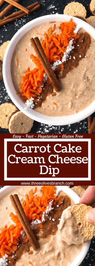 Simple and easy Carrot Cake Cream Cheese Dip recipe ready in 5 minutes. Fast spring or Easter dessert that is vegetarian and gluten free. #easterrecipes #easterdessert #carrotcake